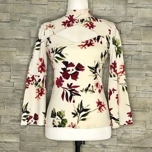 Guess cream floral cutout top